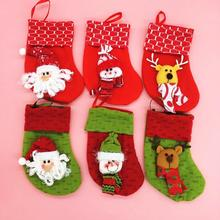 120pcs/lot Christmas Tree Hanging Stockings Santa Claus Deer Snowman Style Gifts Socks Bags Home Hotel Shop Accessories HX450