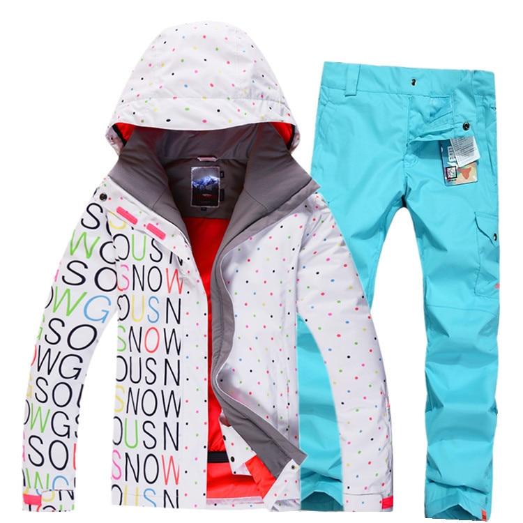 2016 Fashin GSOU SNOW White/Black Half Letter Women Ski Suit Sets Snowboard Clothing 10K Waterproof thicken Warm Winter Clothes