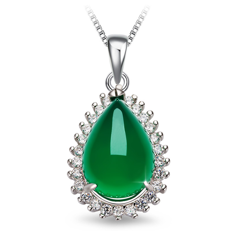 925 Silver Color Necklace Green Agate Pendant  Chalcedony Pure Pendant Necklace Jewelry Pierscionki Emerald Gemstone Pendants