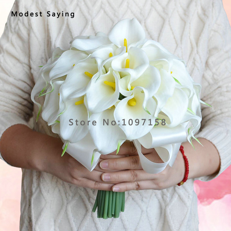 US $49 0 |Pack with Box Romantic Yellow Artificial Flowers Lily Wedding  Bouquets 2017 New Fashion Lace Bridal Hand Bouquet ramos de novia-in  Wedding