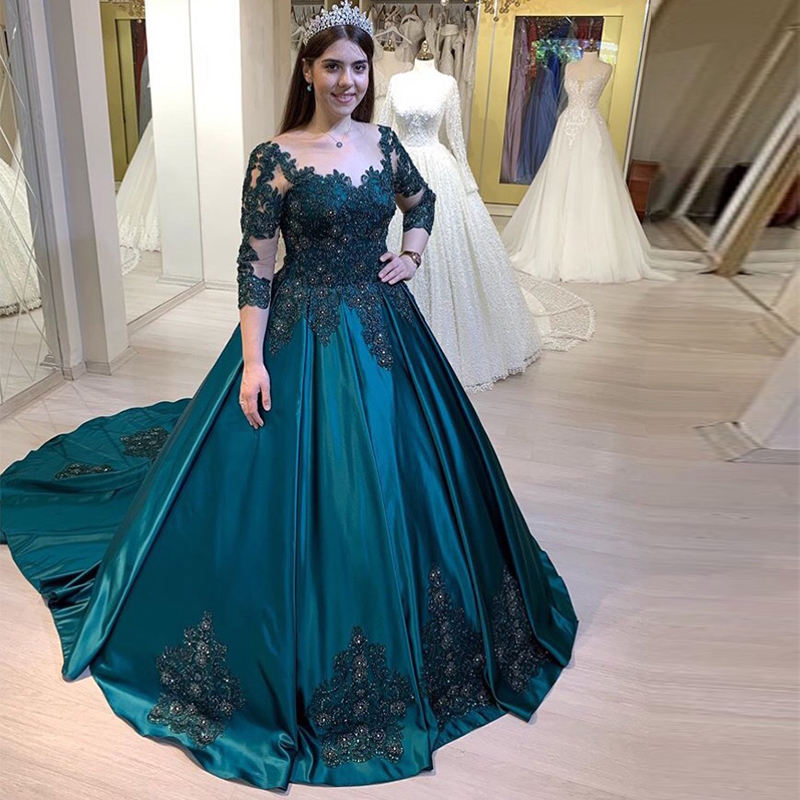 Dark Green 3/4 Long Sleeves   Prom     Dress   Scoop Neck Appliques Beading Women Formal Party Gowns Ball Gowns Vestido De Formatura