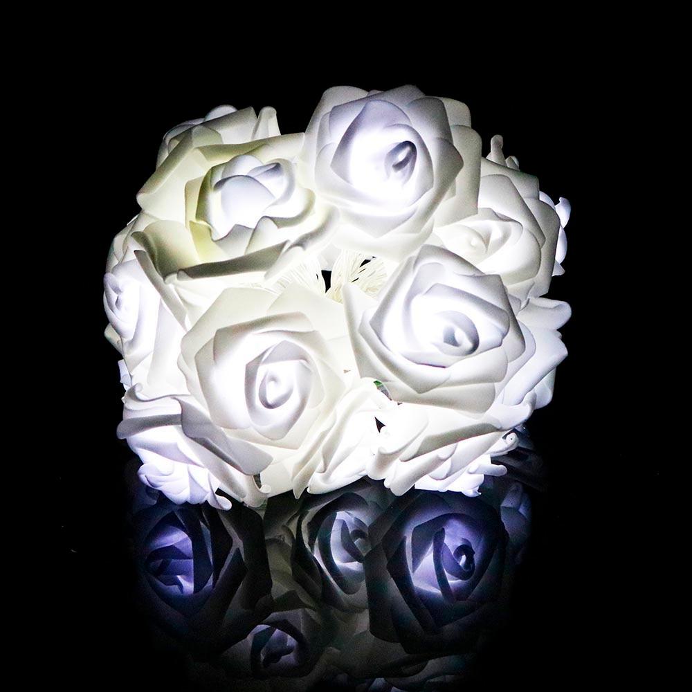 2 м 20 РОЗА светодиодная гирлянда с цветком Сказочный фонарь розовый романтический для праздника, свадьбы, Рождества, Дня Святого Валентина, декор L - Испускаемый цвет: Белый