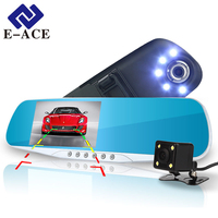 E ACE 4 3Inch Car Camera Dvr NightVision Led Lights DashCam Blue Rearview Mirror Automotive Dvr