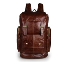 Nesitu Large Capacity Vintage Genuine Leather Men Women Backpacks Cowhide Men Travel Bags M7311