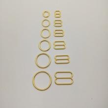 送料無料200ピース/ロットゴールドメッキブラのストラップスライダーニッケルと非鉄送料