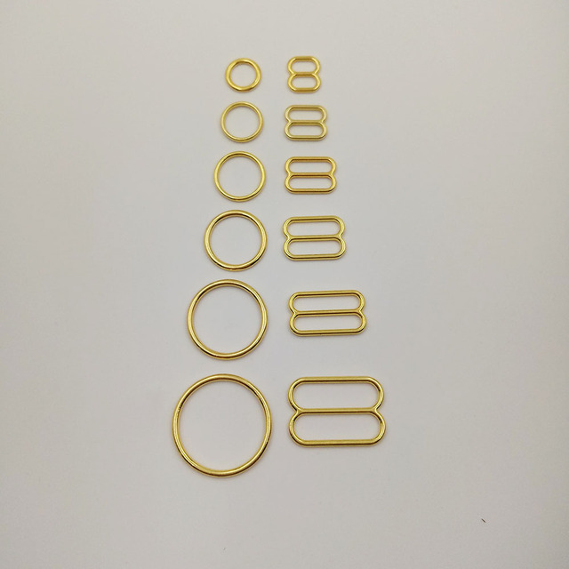 Free shipping 200 pcs / lot gold plated bra strap sliders nickel and ferrous free