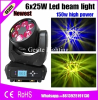 4pcs/lot LED Beam Moving Head Stage Light 6x25W RGBW Mobil head light Quad LEDs Movings