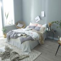 100%Cotton Soft White Gray Bed Sheet Fitted sheet set Bedding Set Duvet Cover King Queen Twin size Bed set parure de li