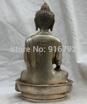 Free Shipping Chinese Tibet Tibetan Buddhism Silver Bronze Statue Sakyamuni Medicine Buddha