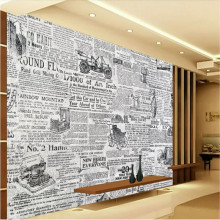Customized high-end wallpaper retro black and white newspaper TV background wall decoration painting waterproof material