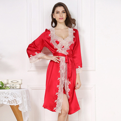 Sexy 100% pure silk robe gown sets for women noble spaghetti strap Nightdress long sleeve robes quality elegant Gown sets women