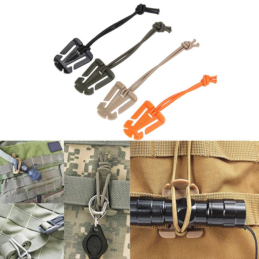 5Pcs Outdoor Tool Bag Tactical Bushcraft Carabiner ITW Elastic Rope Web Buckle Winder Camp Hike Gear Molle Backpack Accessory