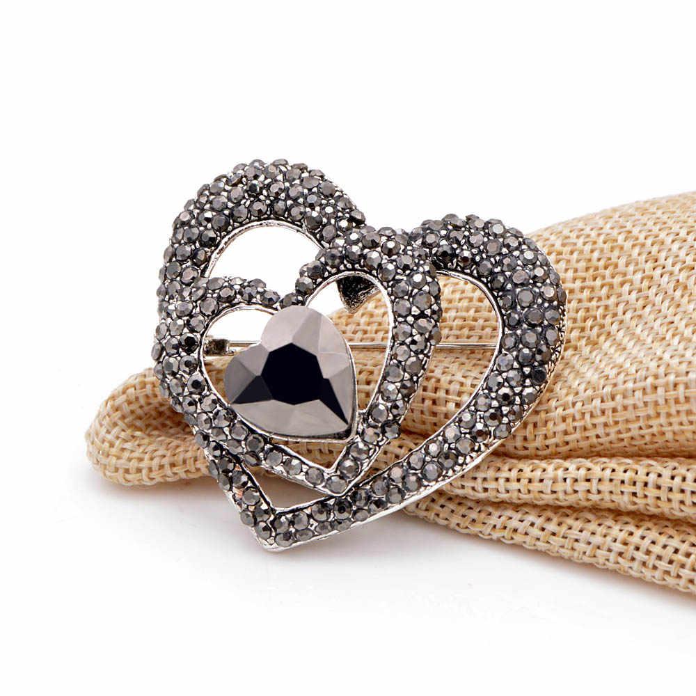 סינדי יאנג שחור ריינסטון לב סיכות עבור נשים אופנה חתונה אלגנטי מעיל אביזרי אמא של תכשיטי מעיל אבזרים