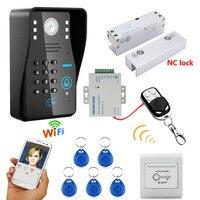 Mountainone Беспроводной WI FI RFID пароль Управление доступом домофон Системы + Электрический замок болта безрамные Стекло двери NC домофона
