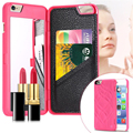 2016 maquillaje cosmético case teléfono con ranura para tarjeta de lujo 3d de doble capa casos cartera oculta espejo contraportada para iphone 7 6 6 s plus