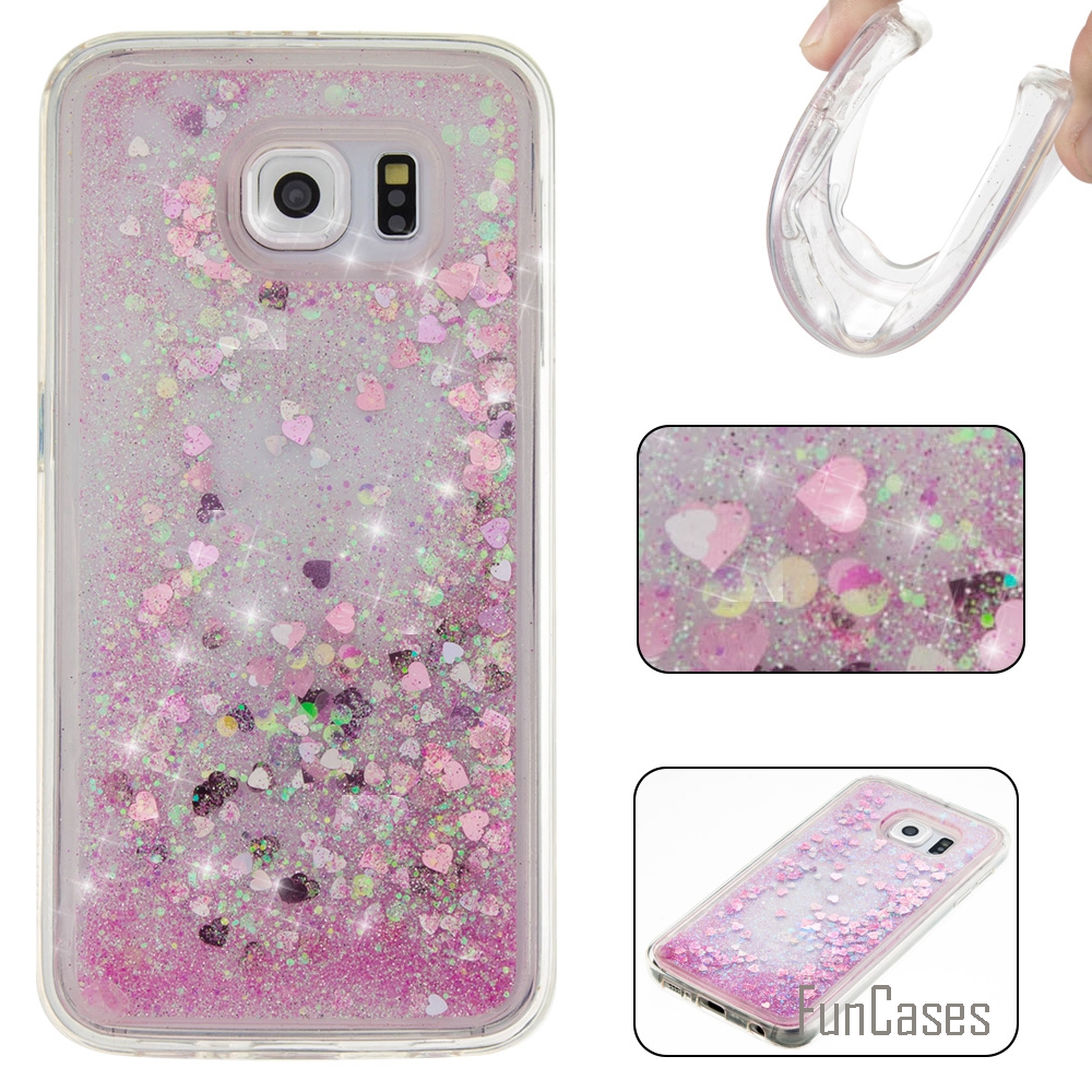 Coque Bling Love Heart Star Soft TPU Phone Case Cover For Samsung Galaxy S6 Funda Quicksand Cell Phone Case For Samsung S6 G920F