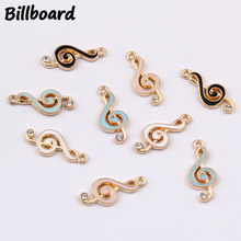 Charms for Jewelry Making Enamel Zinc Alloy Metal Trendy Musical Note Pendant 10pcs/bag