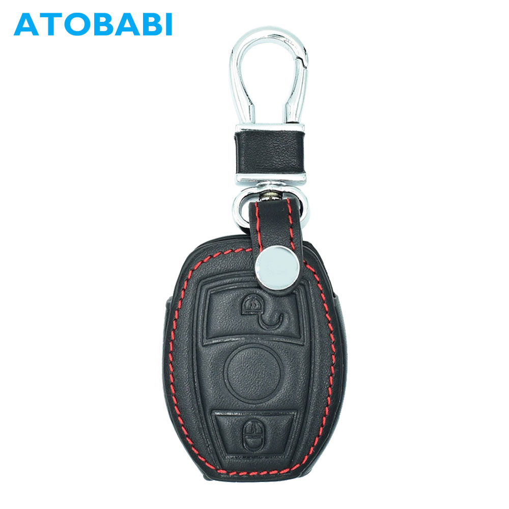 ATOBABI 2 Buttons Genuine Leather Car Key Cases Fob Protection Cover For Mercedes Benz E C Class C260 Smart Keys with Key Ring