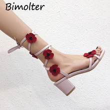 Bimolter Sweet Flower Sandals For Girls Lace up Buckle Shoes Women Floral 3.5cm Heel  Pink Handmade Size 33-42 NB098