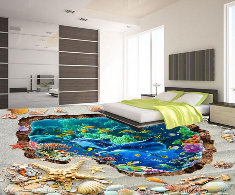 Wallpaper-self-adhesive 3D Flooring Customize Beach Underwater World Dandelion Wallpaper For Walls Living Room Bedroom
