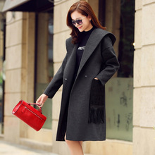 Papaya milk 2016 spring and autumn ladies fringed woolen coat pocket letter personality hooded long wool coat