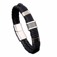 Handmade Simple Punk Vintage Women Alloy Genuine Leather Charming Bracelets & Cuff Bangels Homme Men Bijoux Jewelry Accessories