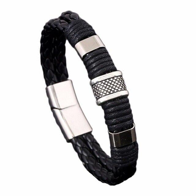Handmade Simple Punk Vintage Women Alloy Genuine Leather Charming Bracelets & Cuff Bangels Homme Men Bijoux Jewelry Accessories