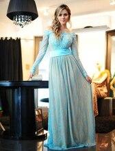 Langarm Blau Spitze Abendkleid 2016 Vestidos Perlen Schulterfrei Formale Kleider Abend Tragen Bodenlangen