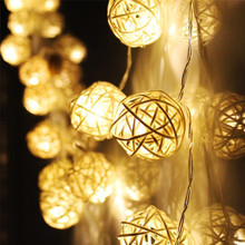 High Quality 20 LED Warm White Rattan Ball String Fairy Lights For Xmas Wedding Party Hot17-19