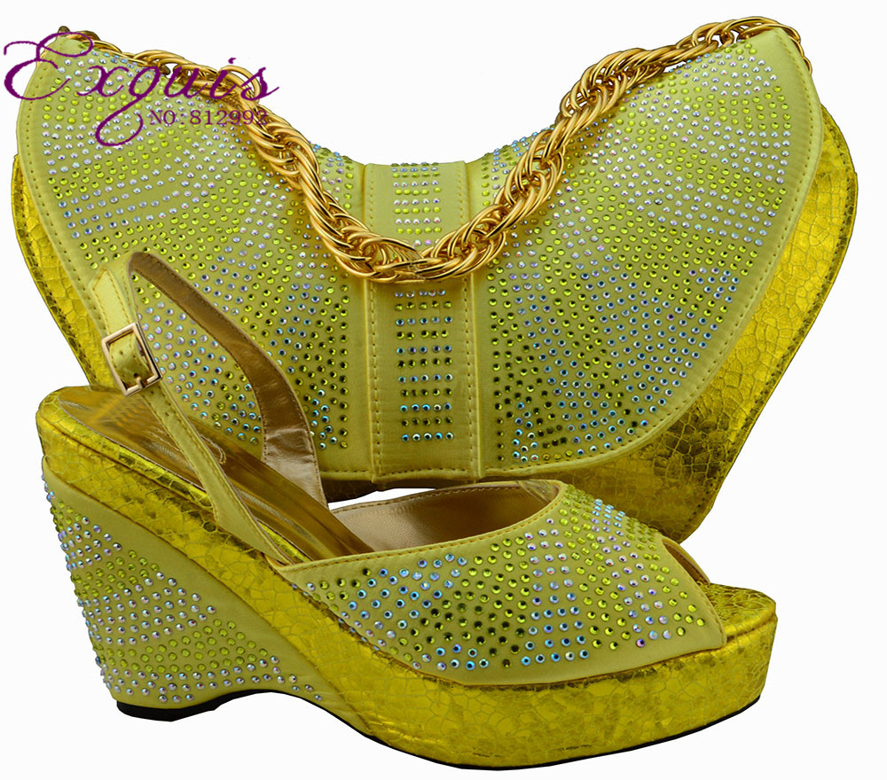 ФОТО Fashion Italy design shoe and bag set for lady party and wedding MM1005 gold color 38-43