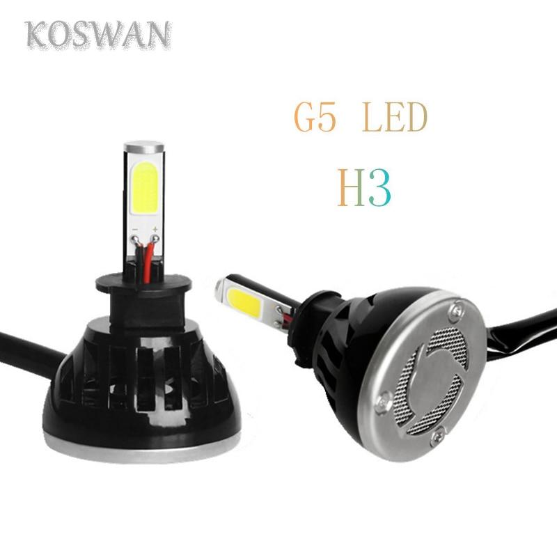 ФОТО 2pcs Universal Car H3 LED Headlight Bulb 4000LM 40W Four Pcs Chlips COB LED Headliglamp H3 Head Light Bulb System Good Quality