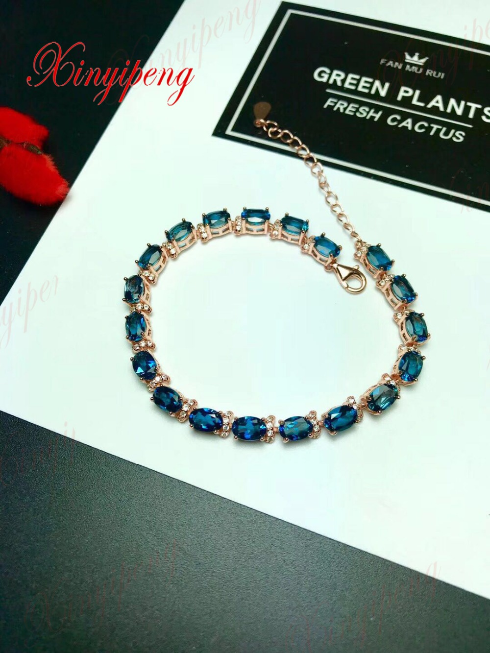 925 Серебряный инкрустированные натуральный голубой топаз камень браслет красивый дизайн