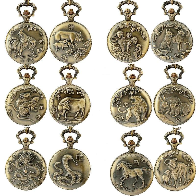 Bronze Animal Pocket Watch Unisex Chinese Zodiac Style Antique Necklace Chain Quartz Pocket Fob Watches Men Women Clock Relogio