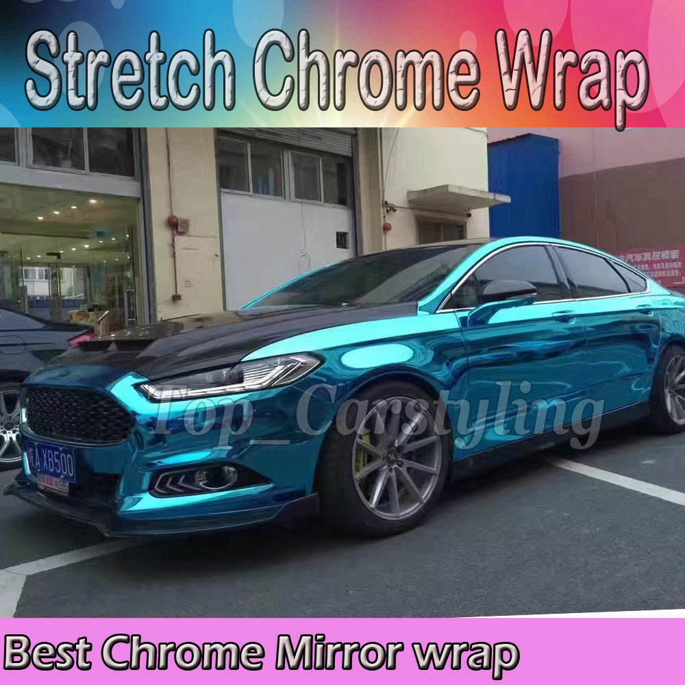 Film de protection de revêtement de vinyle de miroir de Chrome extensible bleu clair pour la feuille de style de voiture avec la bulle d'air taille libre: 1.52*20 M/Roll
