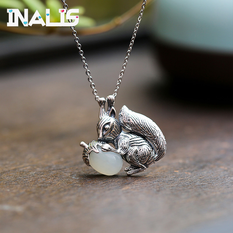 Unique Necklace S925 Sterling Silver Natural Hetian Jade Mosaic Squirrel Pine Nut Pendant Female Clavicle Chain Jewelry