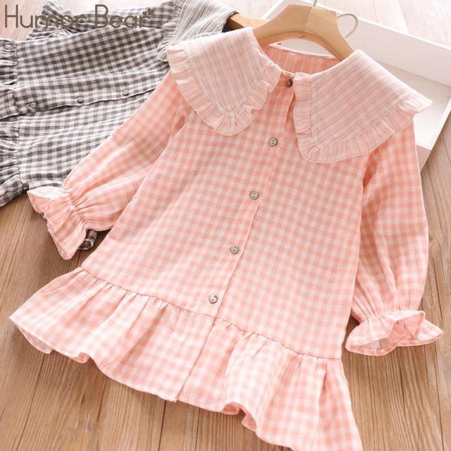 Humor Bear 2019 Children Clothes Spring & Autum Girls Dress Brand New Plaid Doll Collar Long Full Sleeves Princess Party Dress