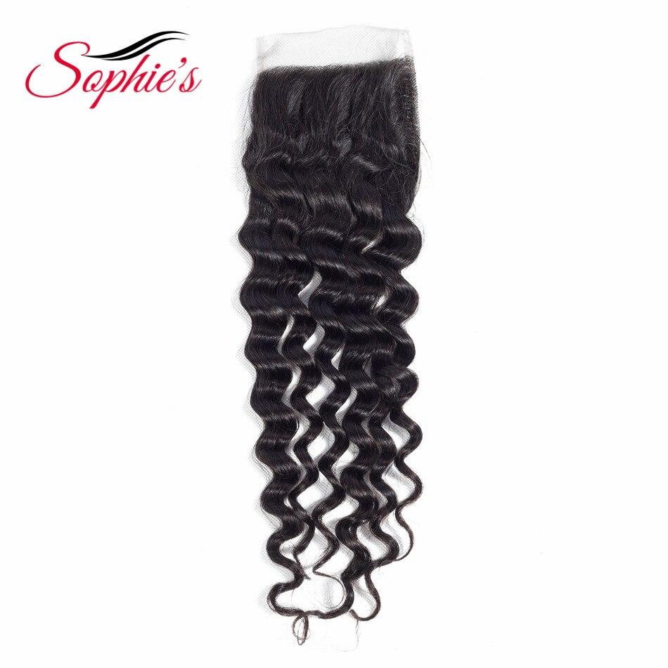 Sophies Hair 4*4 Human Hair Lace Closure Peruvian Deep Wave Hair Pre-plucked Hair Line Non-Remy Natural Black Free Shipping