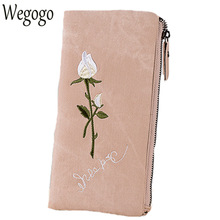 New Arrive Vintage Women Day Clutch Ladies Embroidery Roses Long Wallets Girls