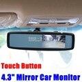DIYKIT 4.3 Polegada Botão de Toque TFT LCD Color Monitor Espelho Retrovisor Monitor Do Carro Frete Grátis