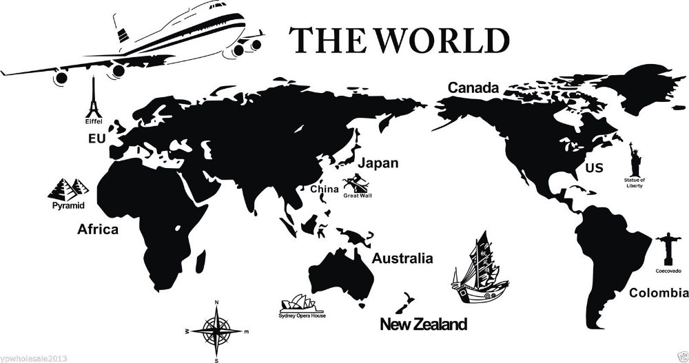 Grand avion la carte du monde repère vinyle Sticker Mural carte du monde Art Mural bureau Sticker Mural salon décoration de la maison