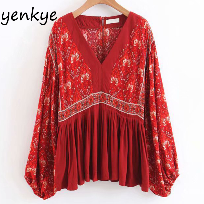 Women Red Vintage Floral Printed Holiday Boho   Blouse   Lady V Neck Batwing Sleeve Casual   Blouses     Shirt   Summer Tops LJPZ871