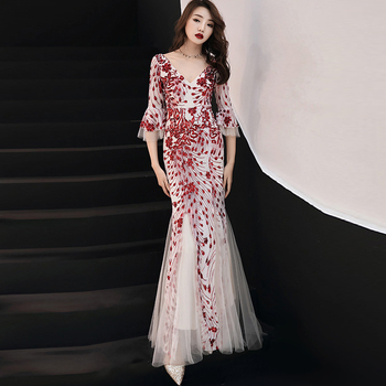 Red Sequins Backless V Neck Half Sleeves Elegant Mermaid Dresses Sexy Long Evening Party Dress Nightclub Gown 2019 фото
