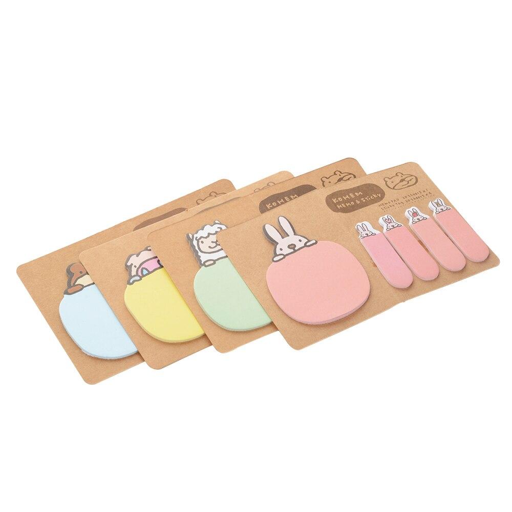 Korean Cartoon Office School Stationery Post-it Memo Pads Kawaii Masking Sticky Notes Set Cute Animal Portable Mini Paper Pad