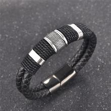 Jiayiqi Fashion Men Braid Bracelets Woven Black/Brown Leather Bracelet Stainless Steel  Bangle Punk Retro Jewelry Christmas Gift