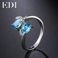 EDI Chính Hãng 2 cttw Gemstone Blue Topaz Hình Dạng Ngọc Trai Vòng Nguyên Chất 925 Sterling Bạc Quà Tặng Cho Phụ Nữ Đồ Trang Sức M