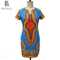 shenbolen African Dresses For Women Dashiki Dress Ankara Printing Cotton Wax Fabric Traditional Clothing