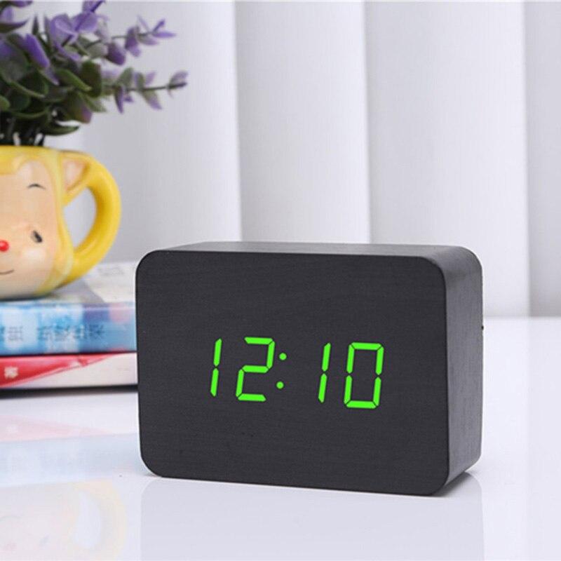 Small Rectangular Desktop LED Wood Bell Control Electronic Alarm Clock Home Furnishing USB Clock Screen Sound Control digital