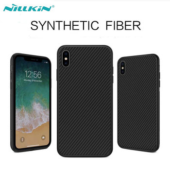 Nillkin Synthetische Fiber Carbon Case Plastic Back Cover voor iPhone X XS Max Ultra Dunne Case voor iPhone X iPhone XR TPU frame