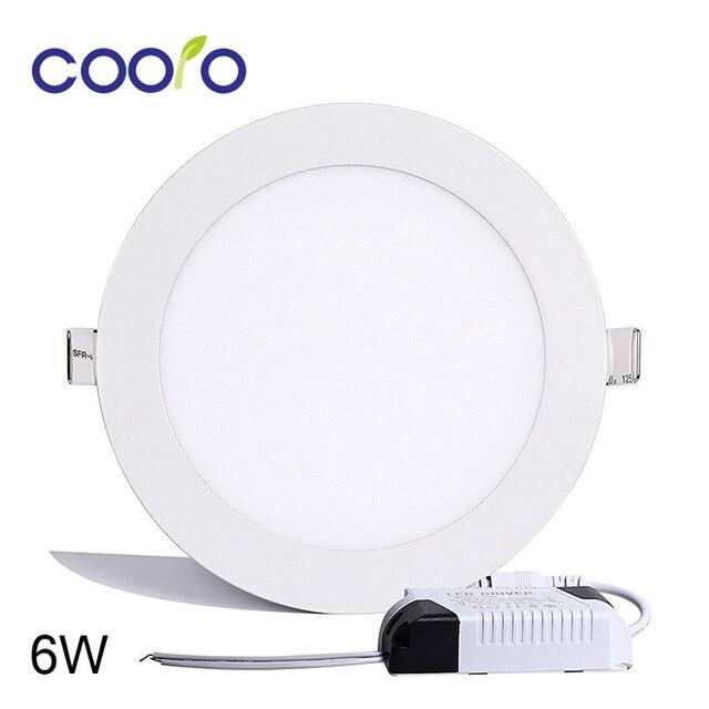US $5 99 40% OFF|AC110/220V LED Panel Light 6W LED ceiling Light Round  Ultra thin LED downlight-in LED Panel Lights from Lights & Lighting on
