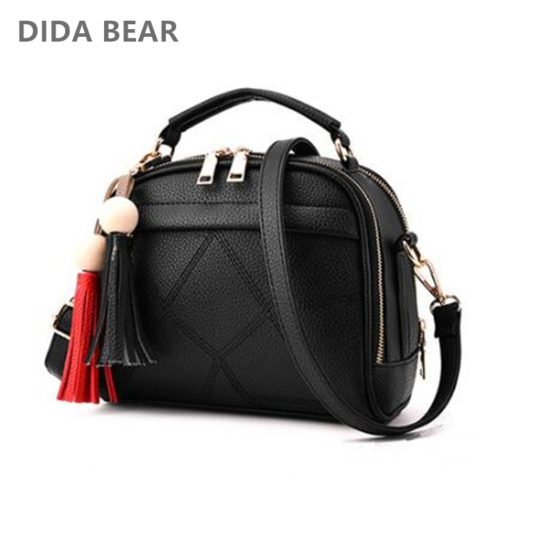 DIDA BEAR Women Small Leather Shoulder bags Girls Crossbody Messenger bag Lady Handbag and Purse Femme Sac A Epaule bolso Black alligator crocodile leather mini women crossbody bags small women bag sling lady messenger shoulder bag purse lady handbag